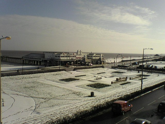 Claremont Pier in the snow by Richard Woods