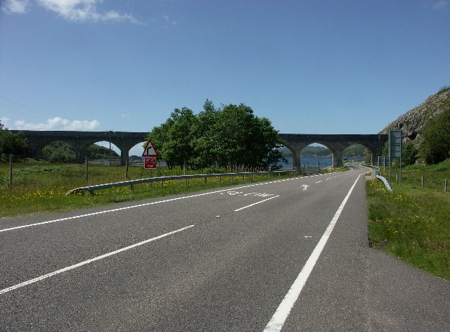 A830 and railway viaduct at the head of Loch Nan Uamh