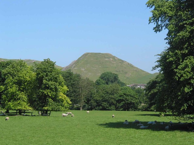 Fields by Ilam Church and Thorpe Cloud