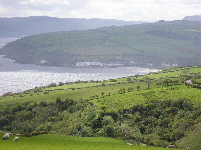 Cushendun Bay and town from Altagore