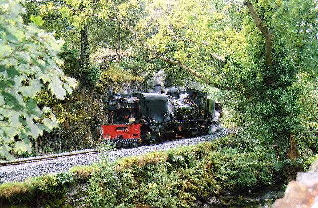 Welsh Highland Railway train at Plas-y-nant