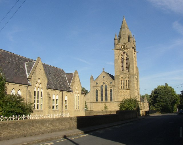 Greetland, West Vale, school and church