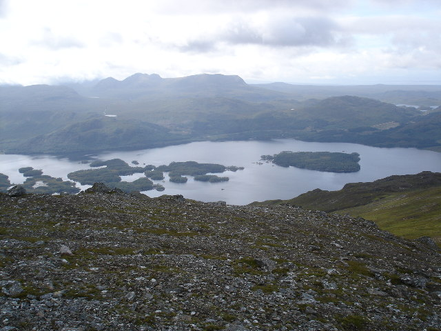 View down to the islands on Loch Maree