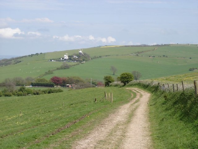 View towards Clayton Windmills from the east side of Wolstonbury Hill by Ian Cunliffe