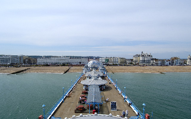 View looking NW towards hotels from Eastbourne Pier