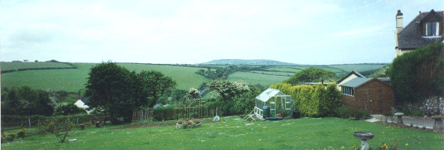 Yard behind Mithian Post Office with St Agnes Beacon