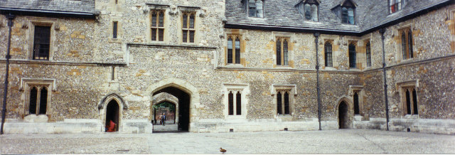 Winchester College courtyard and learned duck