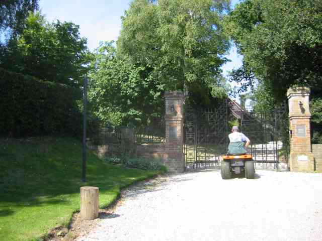 Open gates at Bride Hall