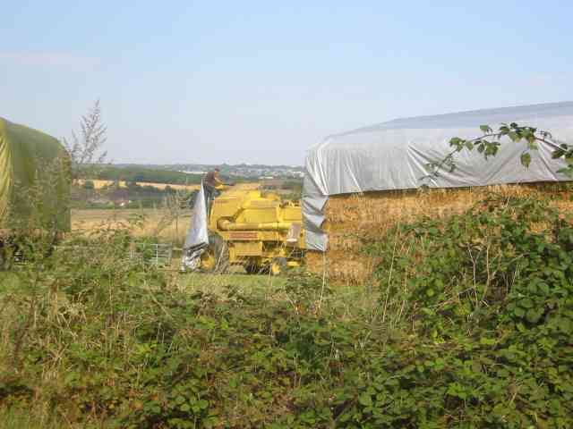 Driver covering up the combine harvester Langley