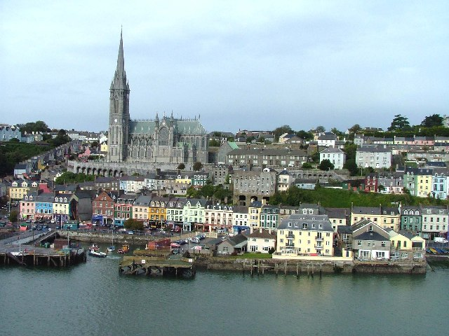 St Colman's Cathedral and the town of Cobh, Cork Harbour, County Cork