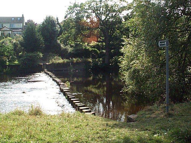 Stepping stones across the River Wharfe near Ben Rhydding