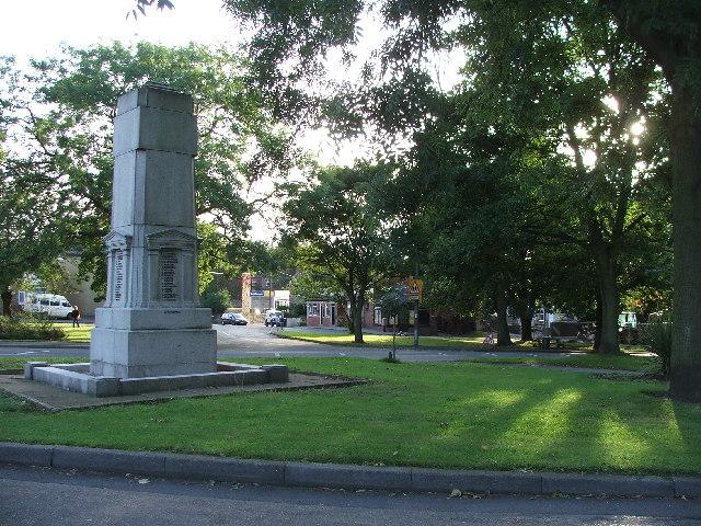 Gildersome Green and War memorial.