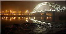 SJ5183 : Runcorn Bridge at night by Eryka Hurst