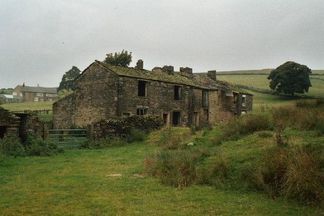 Derelict cottages at Lanehead, Rochdale, Lancashire