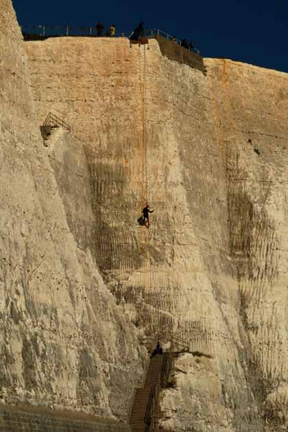 Abseilers at Peacehaven Cliffs by Nat Bocking