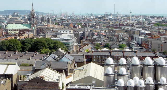 Dublin cityscape looking east from the Guinness Building