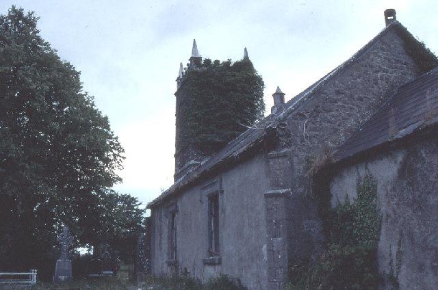 Crossboyne: the derelict Church of Ireland church.