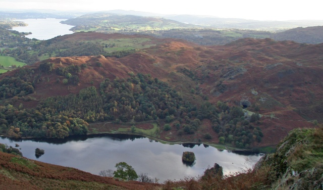 Rydal Cave and Loughrigg Fell From Nab Scar