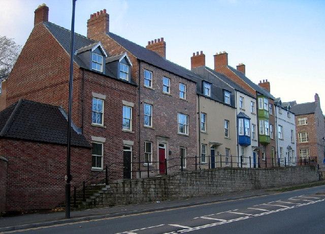 'Fake' houses on Framwellgate Peth, Durham City