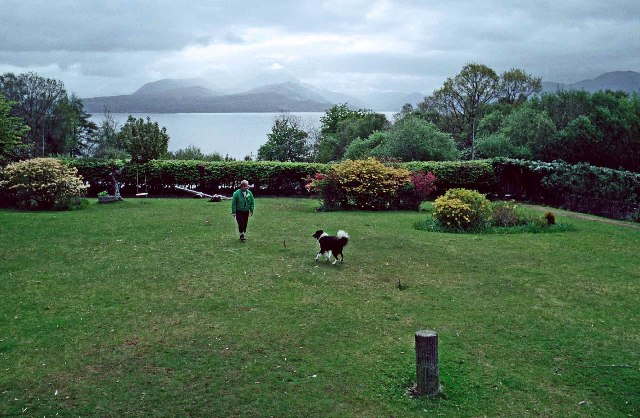 Garden of Duisdale Hotel, Duisdale, Isle of Skye, with Sound of Sleat in background