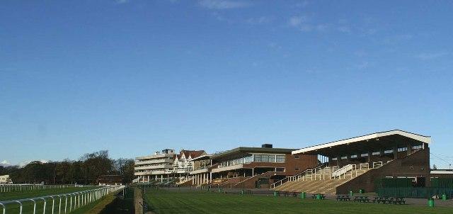 The grandstands at Haydock Park Racecourse