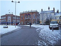 SK4641 : Snow Covered Town Centre by Garth Newton