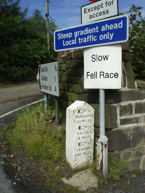 Traffic signs and milestone, Blackshaw Head