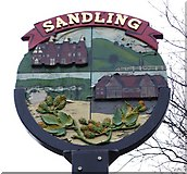 TQ7559 : Sandling village sign by Penny Mayes