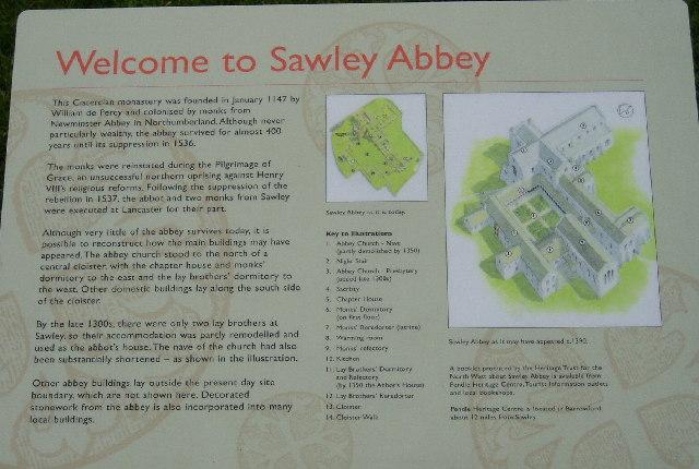 Information board at Sawley Abbey