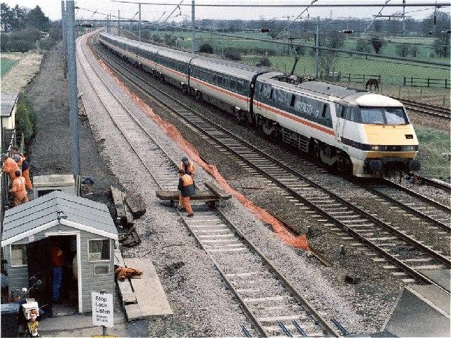 East Coast Main Line at Woodcroft Crossing and Footbridge
