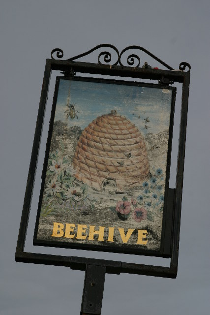 The pub sign at the Beehive public house