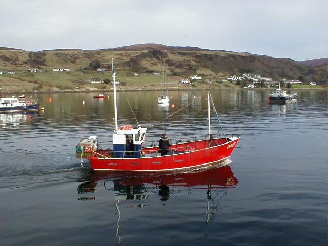 Fishing boat leaving Uig Bay