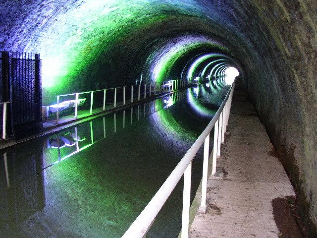 The recently illuminated Newbold Tunnel