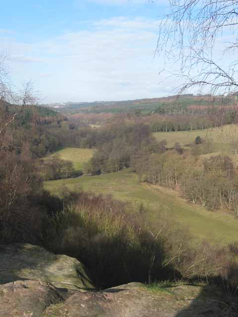 View up the Churnet Valley from Toothill Rock