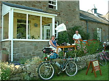 NY9393 : Cyclist's cafe in Elsdon by Oliver Dixon