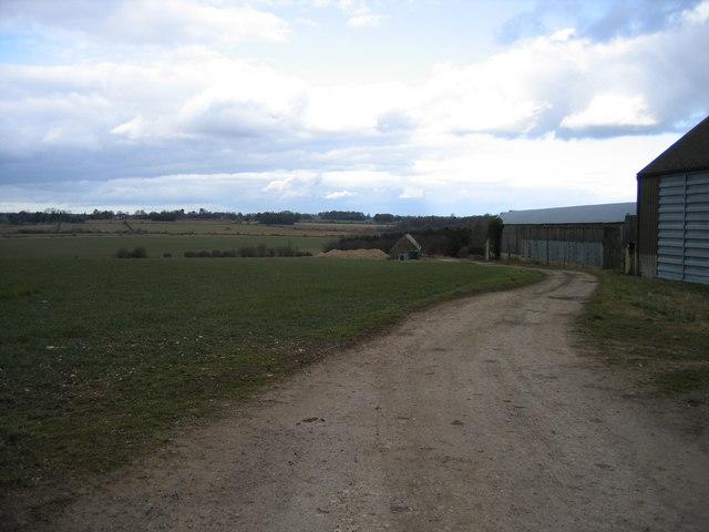 View towards Trewsbury House from barns near Tarlton