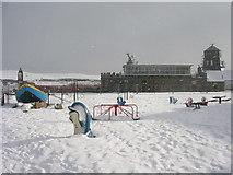 NJ9505 : Footdee playpark under snow by Richard Slessor