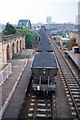 NZ3957 : Coal train approaching the Wearmouth Rail Bridge, Sunderland, 1994 by Martin Routledge