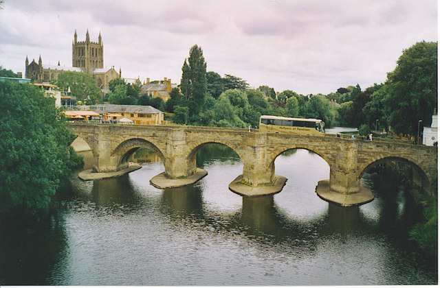 Hereford Cathedral and Wye Bridge.