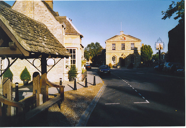 Woodstock, Stocks and Town Hall.