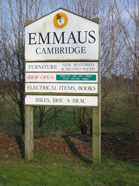 Sign at entrance to Emmaus, Landbeach