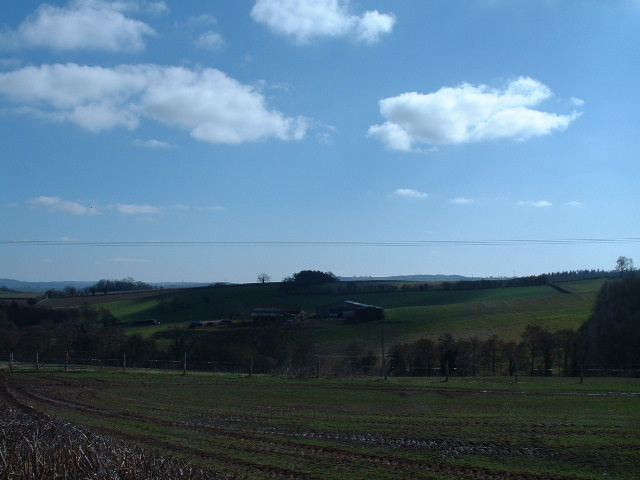 Kesty Farm in the middle distance