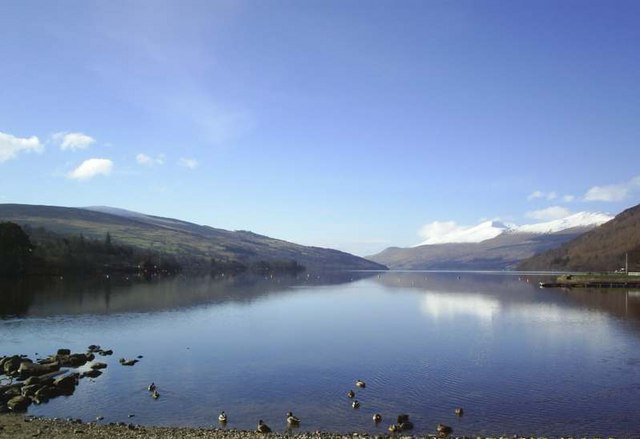 Loch Tay and Ben Lawers from shingle beach at Kenmore