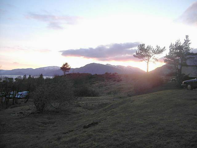 Sunset over Ardgour from Inchree chalets