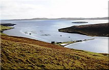 HU4472 : Fish Cages at Swinister Voe, Shetland by Robert Bone