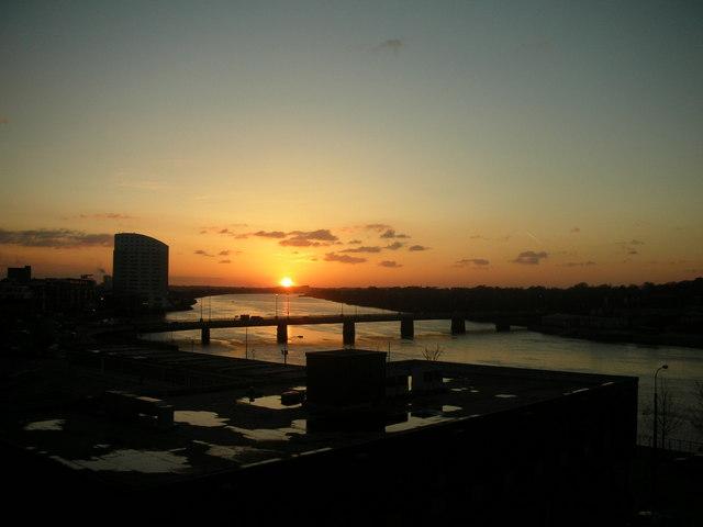 Sunset over the River Shannon, Limerick, Ireland.