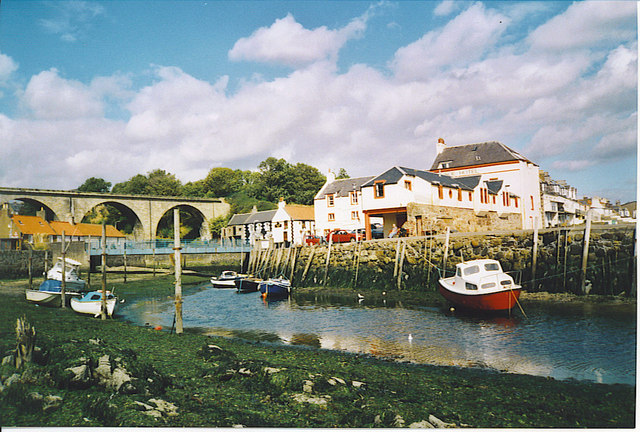 Lower Largo, Old Railway Viaduct, Harbour and Crusoe Hotel.