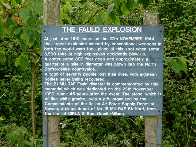 Memorial to those who were killed by the Fauld Explosion