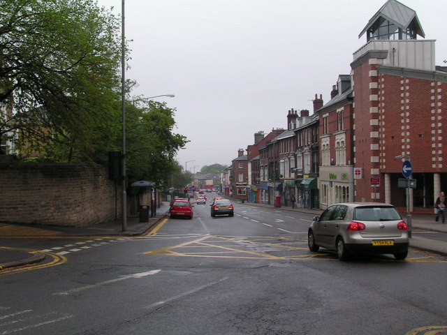 Manchester Road (A57) at the junction with Fulwood Road