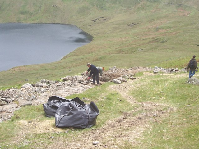 Remaking the footpath on Dollywaggon Pike by Grisedale Tarn